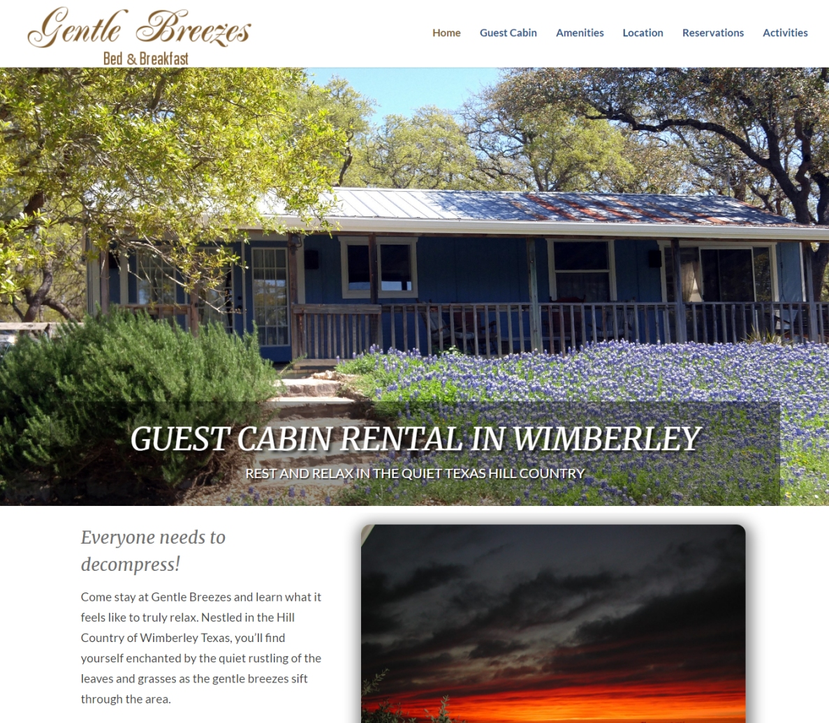 Website Designed For Vacation Cottage Rental Wimberley TX