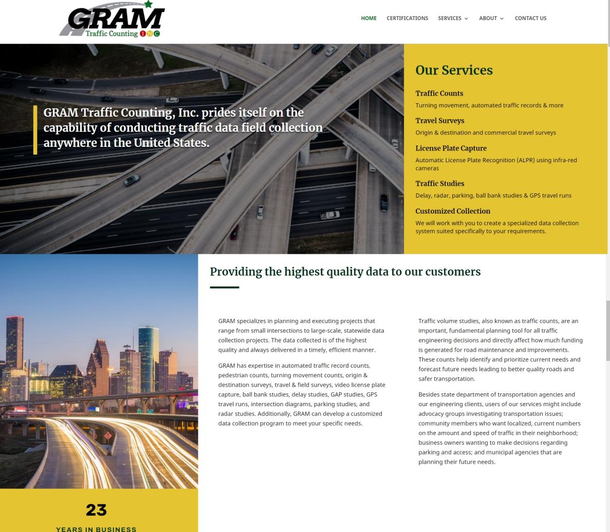 Mobile Friendly Website Built for Gram Traffic