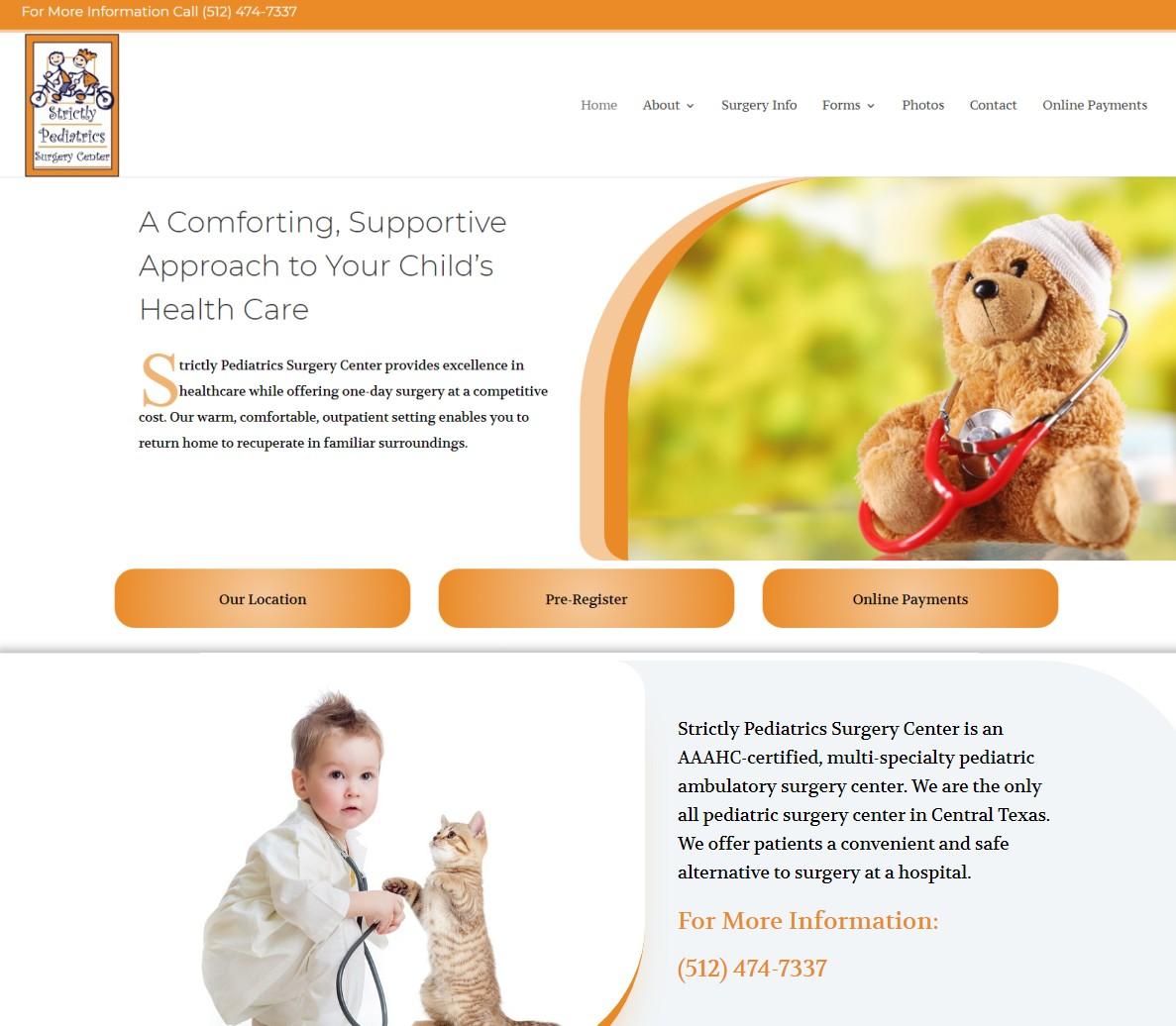 Website Designed for Strictly Pediatrics Surgery Center